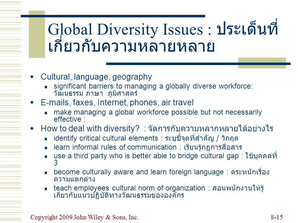 Copyright 2009 John Wiley & Sons, Inc.8-15 Global Diversity Issues : ประเด็นที่ เกี่ยวกับความหลายหลาย   Cultural, language, geography significant ba