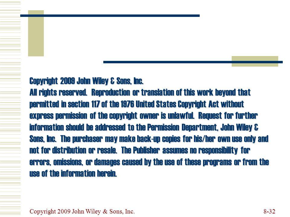 Copyright 2009 John Wiley & Sons, Inc.8-32 Copyright 2009 John Wiley & Sons, Inc.