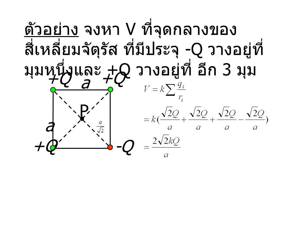 a +Q -Q a +Q ตัวอย่าง จงหา V ที่จุดกลางของ สี่เหลี่ยมจัตุรัส ที่มีประจุ -Q วางอยู่ที่ มุมหนึ่งและ +Q วางอยู่ที่ อีก 3 มุม P