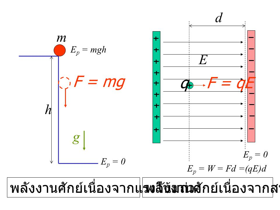 h m g E p = mgh พลังงานศักย์เนื่องจากแรงโน้มถ่วง qF = qE พลังงานศักย์เนื่องจากสนามไฟฟ้า E p = 0 F = mg E d E p = W = Fd =(qE)d E p = 0