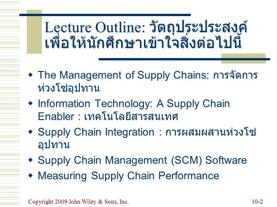 Copyright 2009 John Wiley & Sons, Inc.10-2 Lecture Outline: วัตถุประประสงค์ เพื่อให้นักศึกษาเข้าใจสิ่งต่อไปนี้   The Management of Supply Chains: กา