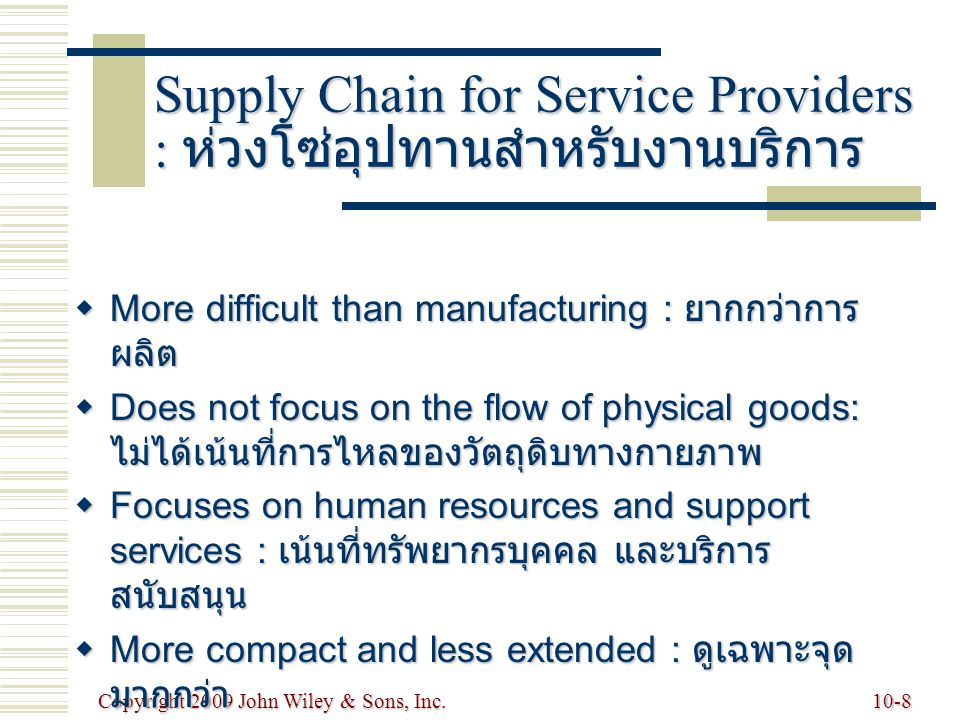 Copyright 2009 John Wiley & Sons, Inc.10-9 Value Chains : ห่วงโซ่คุณค่า   Value chain : ห่วงโซ่คุณค่า วัตถุประสงค์เพื่อการนำส่งคุณค่ามากที่สุด ให้แก่ผู้ใช้สุดท้าย every step from raw materials to the eventual end user ultimate goal is delivery of maximum value to the end user   Supply chain : ห่วงโซ่อุปทาน activities that get raw materials and subassemblies into manufacturing operation ultimate goal is same as that of value chain   Demand chain : ห่วงโซ่อุปสงค์ increase value for any part or all of chain : การเพิ่มค่าของส่วนต่างๆ หรือ ทั้งห่วงโซ่   Terms are used interchangeably  Value creation of value for customer is important aspect of supply chain management creation of value for customer is important aspect of supply chain management
