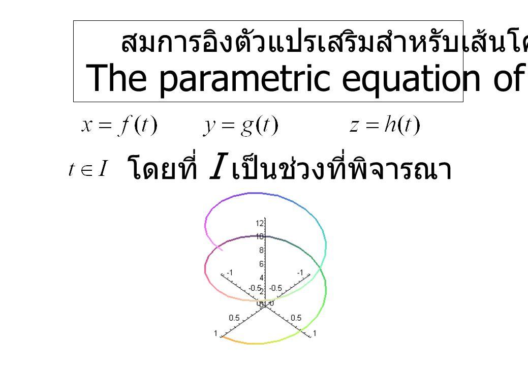 สมการอิงตัวแปรเสริมสำหรับเส้นโค้ง The parametric equation of the curves โดยที่ I เป็นช่วงที่พิจารณา