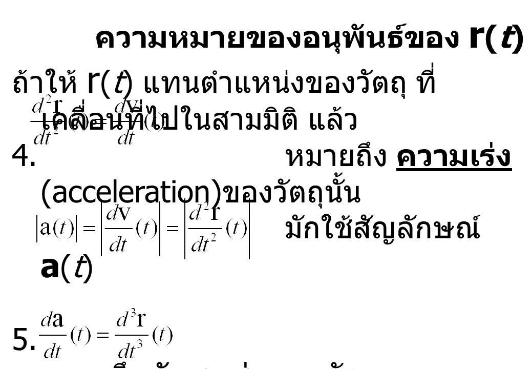 ความหมายของอนุพันธ์ของ r (t) ในเชิงฟิสิกส์ ถ้าให้ r (t) แทนตำแหน่งของวัตถุ ที่ เคลื่อนที่ไปในสามมิติ แล้ว 4. หมายถึง ความเร่ง (acceleration) ของวัตถุน