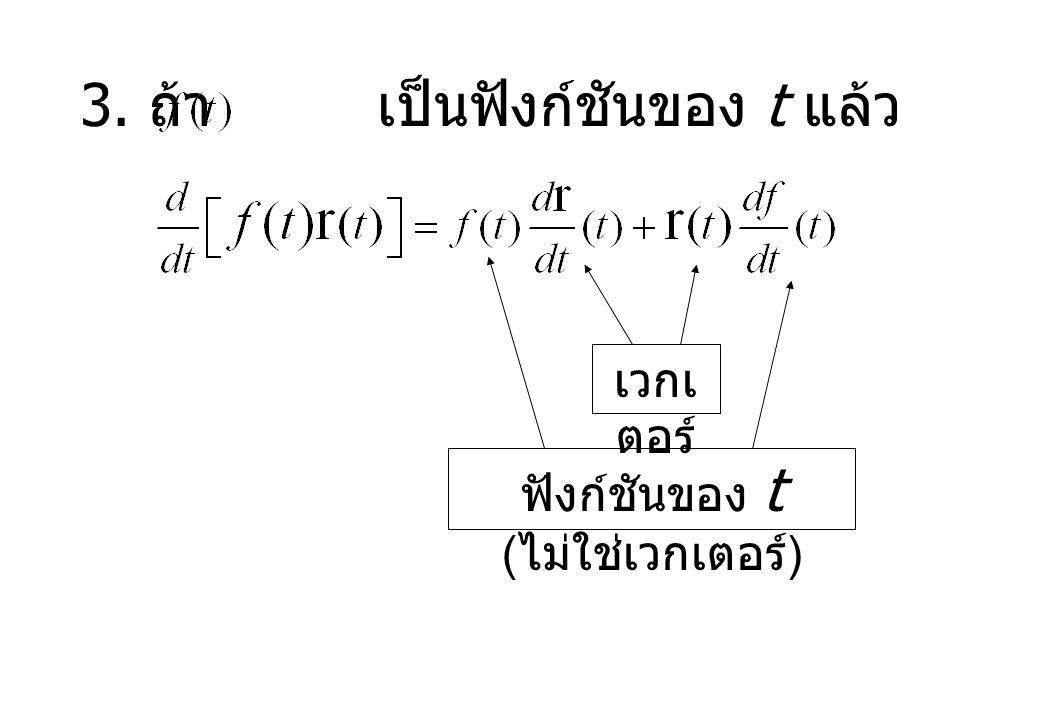 3. ถ้า เป็นฟังก์ชันของ t แล้ว เวกเ ตอร์ ฟังก์ชันของ t ( ไม่ใช่เวกเตอร์ )