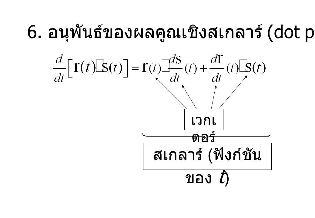 6. อนุพันธ์ของผลคูณเชิงสเกลาร์ (dot product) เวกเ ตอร์ สเกลาร์ ( ฟังก์ชัน ของ t )