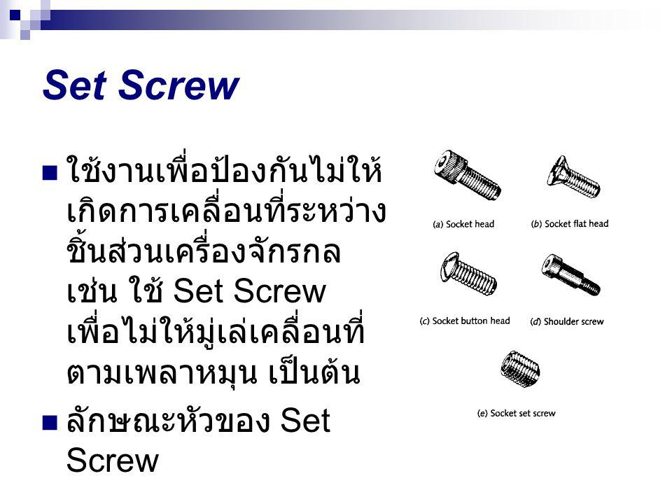 Set Screw ใช้งานเพื่อป้องกันไม่ให้ เกิดการเคลื่อนที่ระหว่าง ชิ้นส่วนเครื่องจักรกล เช่น ใช้ Set Screw เพื่อไม่ให้มู่เล่เคลื่อนที่ ตามเพลาหมุน เป็นต้น ล