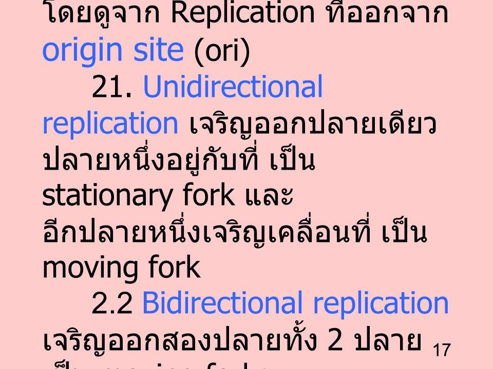 17 2. การเจริญของสายลูก ได้ 2 ทาง โดยดูจาก Replication ที่ออกจาก origin site (ori) 21. Unidirectional replication เจริญออกปลายเดียว ปลายหนึ่งอยู่กับที