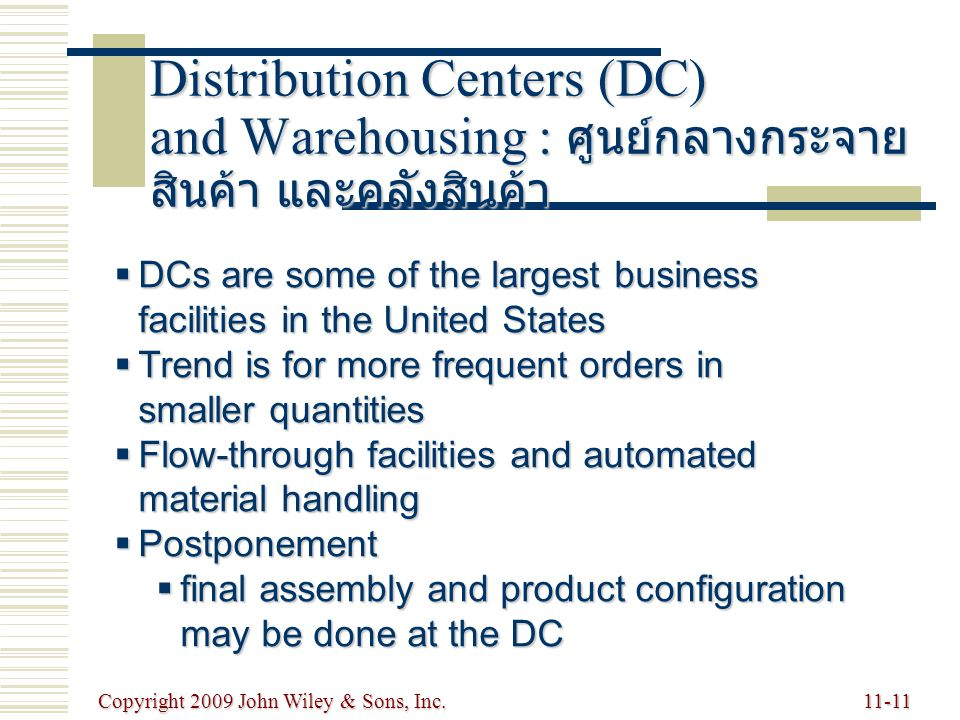 Copyright 2009 John Wiley & Sons, Inc.11-11 Distribution Centers (DC) and Warehousing : ศูนย์กลางกระจาย สินค้า และคลังสินค้า  DCs are some of the largest business facilities in the United States  Trend is for more frequent orders in smaller quantities  Flow-through facilities and automated material handling  Postponement  final assembly and product configuration may be done at the DC