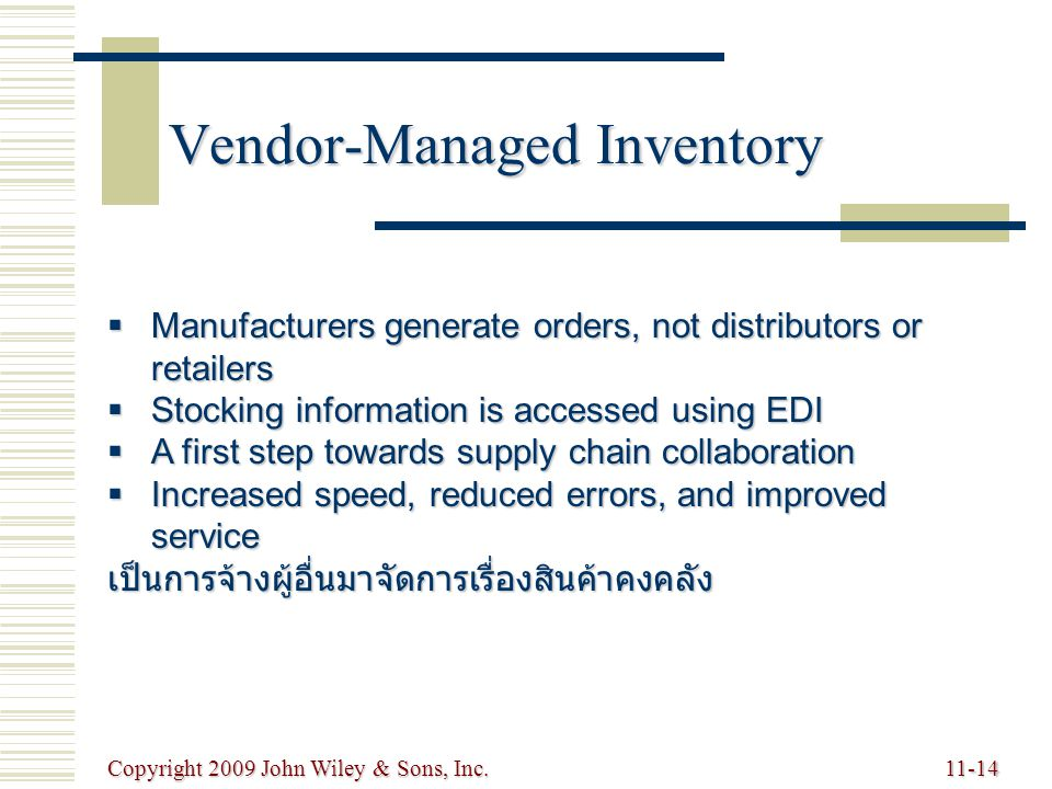 Copyright 2009 John Wiley & Sons, Inc.11-14 Vendor-Managed Inventory  Manufacturers generate orders, not distributors or retailers  Stocking informa