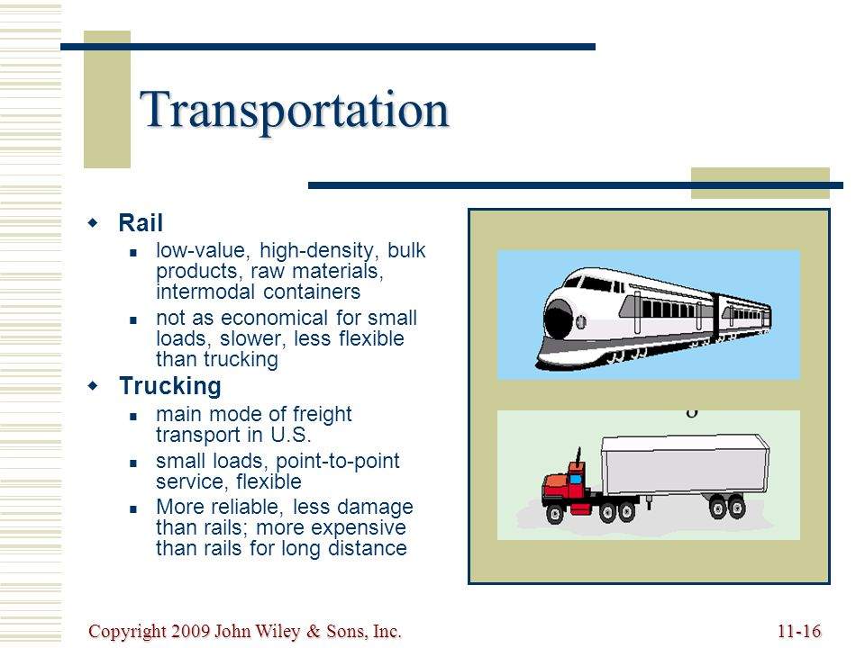 Copyright 2009 John Wiley & Sons, Inc.11-16 Transportation   Rail low-value, high-density, bulk products, raw materials, intermodal containers not as economical for small loads, slower, less flexible than trucking   Trucking main mode of freight transport in U.S.