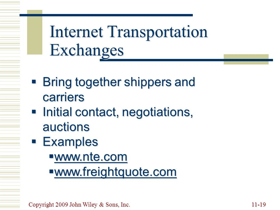Copyright 2009 John Wiley & Sons, Inc.11-19 Internet Transportation Exchanges  Bring together shippers and carriers  Initial contact, negotiations,