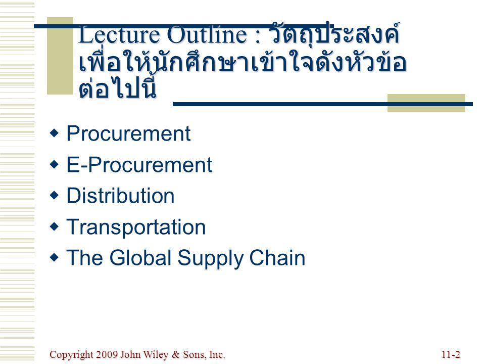 Copyright 2009 John Wiley & Sons, Inc.11-3 Procurement : การจัดหา  The purchase of goods and services from suppliers : การสั่งซื้อสินค้าและบริการ จากผู้ส่งมอบ  Cross enterprise teams coordinate processes between a company and its supplier : กระบวนการประสานงานระหว่างบริษัท และผู้ส่งมอบ coordinate processes between a company and its supplier : กระบวนการประสานงานระหว่างบริษัท และผู้ส่งมอบ  On-demand (direct-response) delivery requires the supplier to deliver goods when demanded by the customer : ต้องการให้ผู้ส่งมอบส่งมาให้เมื่อมีความต้องการจากลูกค้า requires the supplier to deliver goods when demanded by the customer : ต้องการให้ผู้ส่งมอบส่งมาให้เมื่อมีความต้องการจากลูกค้า  Continuous replenishment supplying orders in a short period of time according to a predetermined schedule : จัดเตรียมไว้ก่อนล่วงหน้าเป็นระยะเวลา สั้นๆ ตามแผนที่ได้วางไว้ล่วงหน้า supplying orders in a short period of time according to a predetermined schedule : จัดเตรียมไว้ก่อนล่วงหน้าเป็นระยะเวลา สั้นๆ ตามแผนที่ได้วางไว้ล่วงหน้า