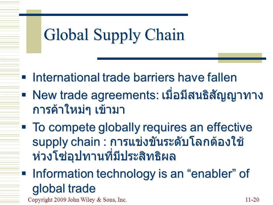 Copyright 2009 John Wiley & Sons, Inc.11-20 Global Supply Chain  International trade barriers have fallen  New trade agreements: เมื่อมีสนธิสัญญาทาง