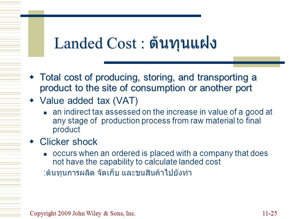 Copyright 2009 John Wiley & Sons, Inc.11-25 Landed Cost : ต้นทุนแฝง  Total cost of producing, storing, and transporting a product to the site of consumption or another port   Value added tax (VAT) an indirect tax assessed on the increase in value of a good at any stage of production process from raw material to final product   Clicker shock occurs when an ordered is placed with a company that does not have the capability to calculate landed cost : ต้นทุนการผลิต จัดเก็บ และขนสินค้าไปยังท่า