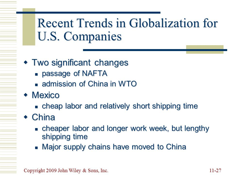 Copyright 2009 John Wiley & Sons, Inc.11-27 Recent Trends in Globalization for U.S.