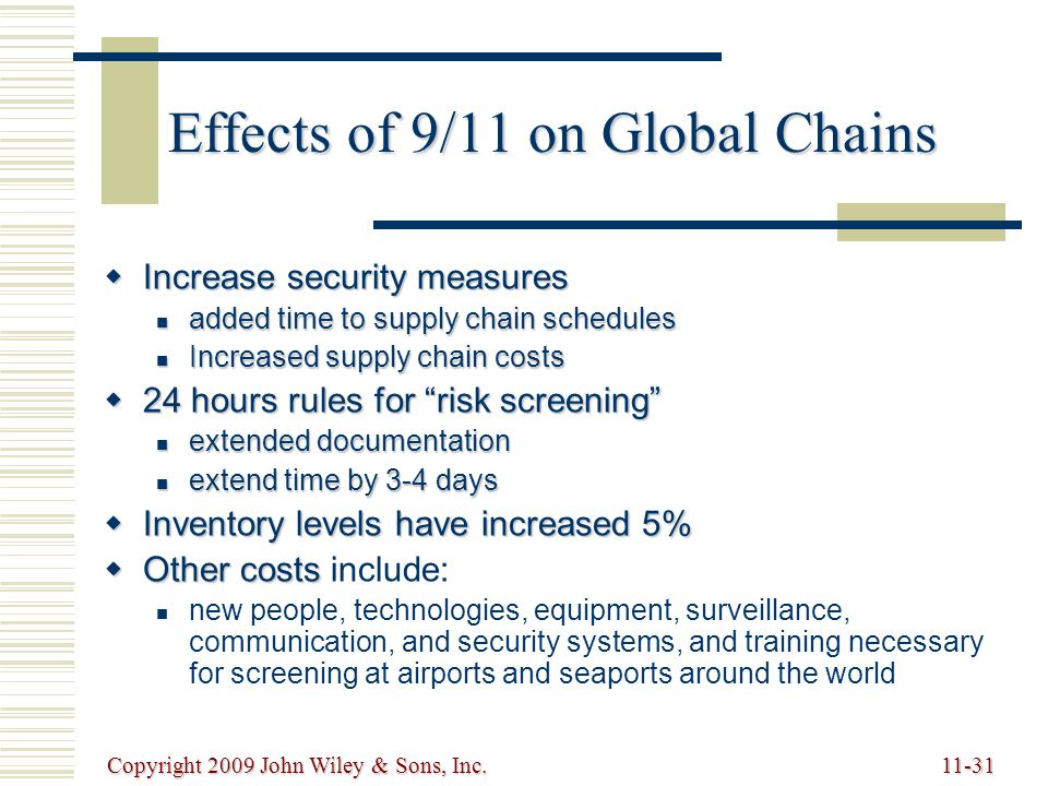 Copyright 2009 John Wiley & Sons, Inc.11-31 Effects of 9/11 on Global Chains  Increase security measures added time to supply chain schedules added time to supply chain schedules Increased supply chain costs Increased supply chain costs  24 hours rules for risk screening extended documentation extended documentation extend time by 3-4 days extend time by 3-4 days  Inventory levels have increased 5%  Other costs  Other costs include: new people, technologies, equipment, surveillance, communication, and security systems, and training necessary for screening at airports and seaports around the world