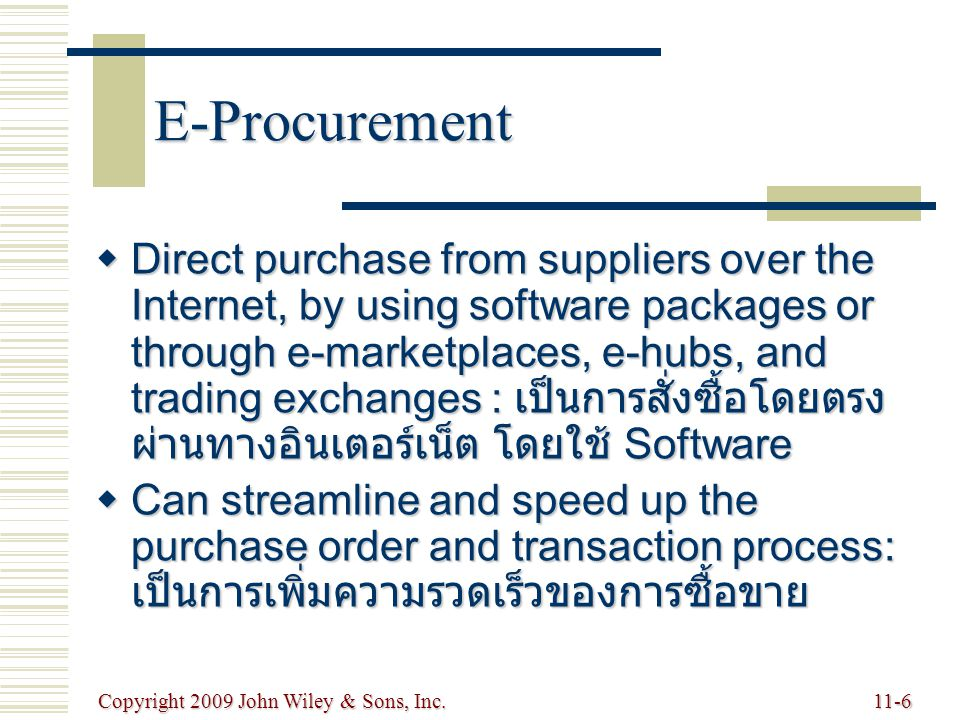 Copyright 2009 John Wiley & Sons, Inc.11-6 E-Procurement  Direct purchase from suppliers over the Internet, by using software packages or through e-m