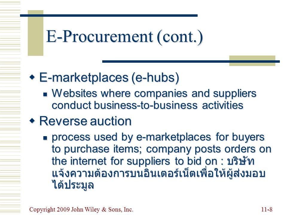 Copyright 2009 John Wiley & Sons, Inc.11-9 Distribution : การกระจาย  Encompasses all channels, processes, and functions, including warehousing and transportation, that a product passes on its way to final customer : รวมทุกช่องทาง กระบวนการ และหน้าที่รวมทั้งการทำคลังสินค้า และการขนส่ง เพื่อส่งสินค้าไปให้ลูกค้า  Order fulfillment : กระบวนการที่ทำให้แน่ใจได้ว่าส่งมอบาม เวลา  process of ensuring on-time delivery of an order  Logistics: การขนส่ง กระจายสินค้า และบริการ  transportation and distribution of goods and services  Driving force today is speed : แรงขับเคลื่อนคือ ความเร็ว  Particularly important for Internet dot-coms