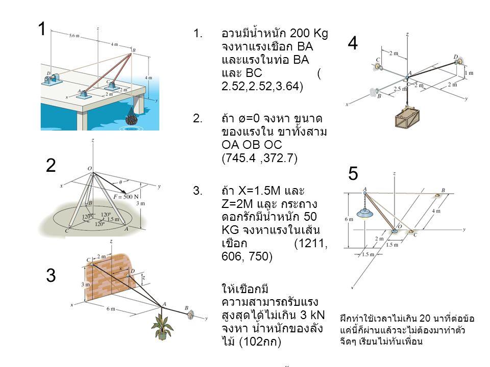 1.อวนมีน้ำหนัก 200 Kg จงหาแรงเชือก BA และแรงในท่อ BA และ BC ( 2.52,2.52,3.64) 2.