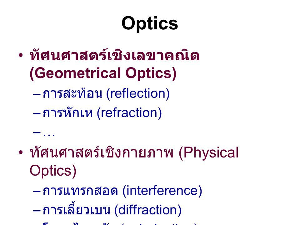 Optics ทัศนศาสตร์เชิงเลขาคณิต (Geometrical Optics) – การสะท้อน (reflection) – การหักเห (refraction) –… ทัศนศาสตร์เชิงกายภาพ (Physical Optics) – การแทร