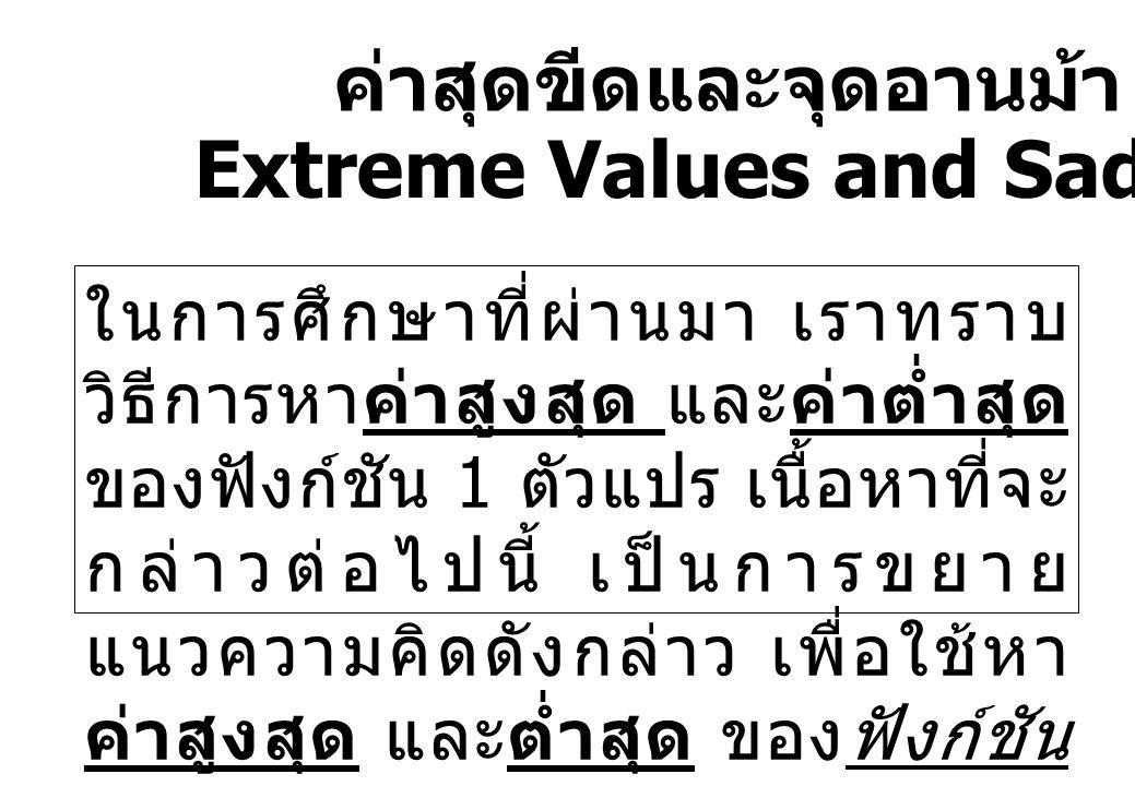 ค่าสุดขีดและจุดอานม้า Extreme Values and Saddle Points ในการศึกษาที่ผ่านมา เราทราบ วิธีการหาค่าสูงสุด และค่าต่ำสุด ของฟังก์ชัน 1 ตัวแปร เนื้อหาที่จะ ก