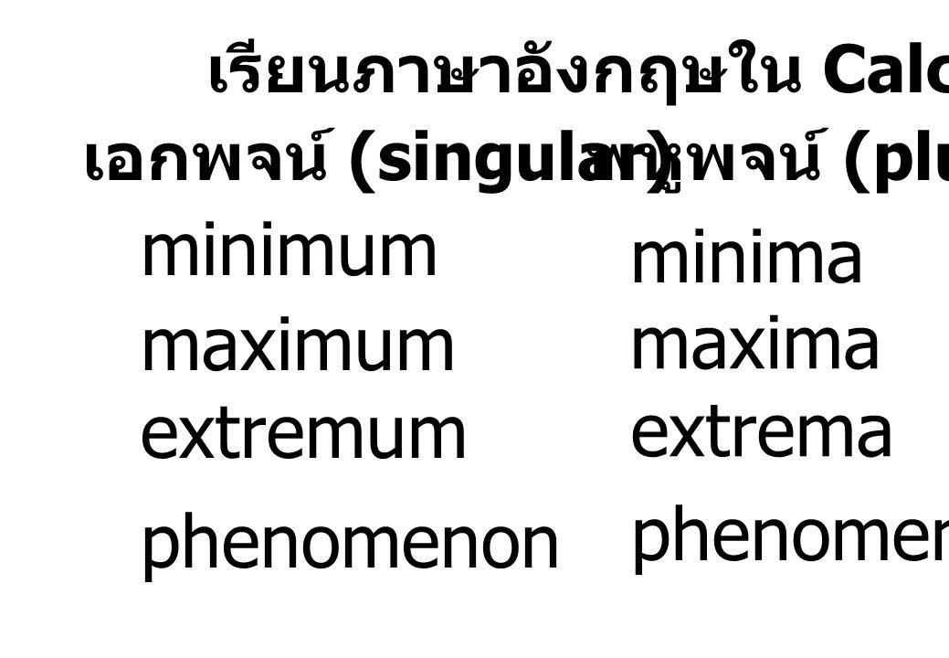 เรียนภาษาอังกฤษใน Calculus !!!! เอกพจน์ (singular) พหูพจน์ (plural) minimum minima maximum maxima extremum extrema phenomenon phenomena