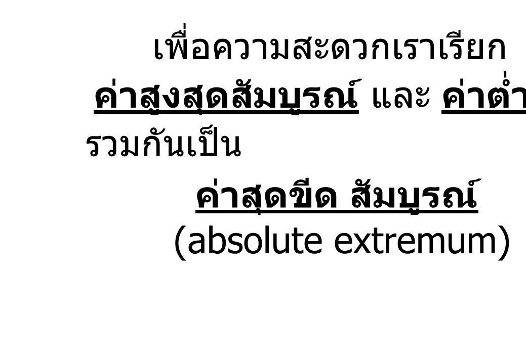 รวมกันเป็น ค่าสูงสุดสัมบูรณ์ และ ค่าต่ำสุดสัมบูรณ์ เพื่อความสะดวกเราเรียก ค่าสุดขีด สัมบูรณ์ (absolute extremum)