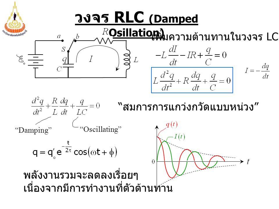วงจร RLC (Damped Osillation) เพิ่มความต้านทานในวงจร LC สมการการแกว่งกวัดแบบหน่วง Damping Oscillating พลังงานรวมจะลดลงเรื่อยๆ เนื่องจากมีการทำงานที่ตัวต้านทาน