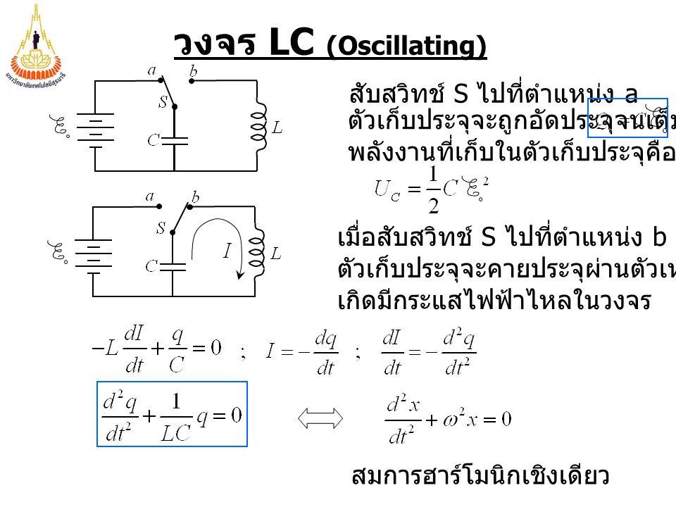 วงจร LC (Oscillating) สับสวิทช์ S ไปที่ตำแหน่ง a ตัวเก็บประจุจะถูกอัดประจุจนเต็ม พลังงานที่เก็บในตัวเก็บประจุคือ เมื่อสับสวิทช์ S ไปที่ตำแหน่ง b ตัวเก็บประจุจะคายประจุผ่านตัวเหนี่ยวนำ เกิดมีกระแสไฟฟ้าไหลในวงจร สมการฮาร์โมนิกเชิงเดียว