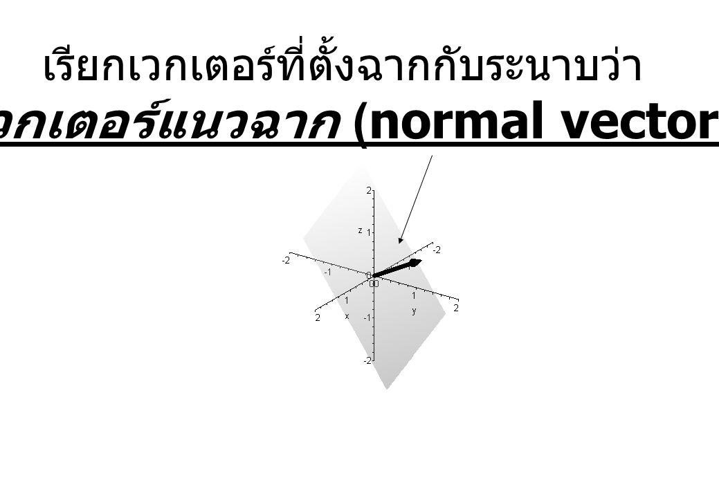 เรียกเวกเตอร์ที่ตั้งฉากกับระนาบว่า เวกเตอร์แนวฉาก (normal vector)