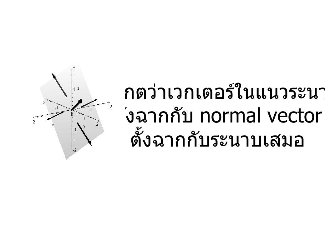 สังเกตว่าเวกเตอร์ในแนวระนาบ จะตั้งฉากกับ normal vector ที่ ตั้งฉากกับระนาบเสมอ