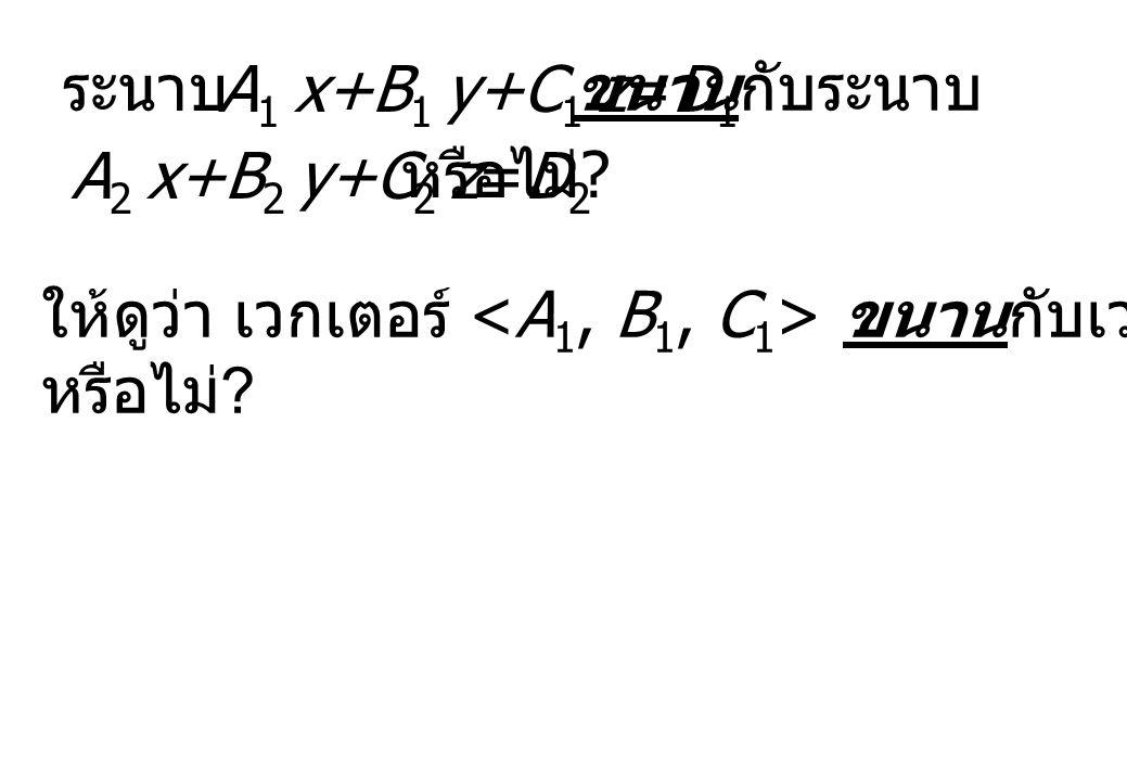 ระนาบ A 1 x+B 1 y+C 1 z=D 1 ขนานกับระนาบ A 2 x+B 2 y+C 2 z=D 2 หรือไม่ ? ให้ดูว่า เวกเตอร์ ขนานกับเวกเตอร์ หรือไม่ ?