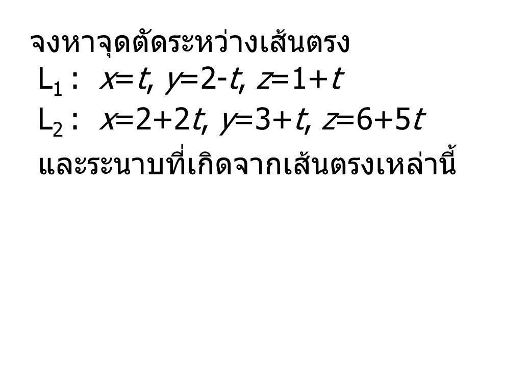 จงหาจุดตัดระหว่างเส้นตรง L 1 : x=t, y=2-t, z=1+t L 2 : x=2+2t, y=3+t, z=6+5t และระนาบที่เกิดจากเส้นตรงเหล่านี้