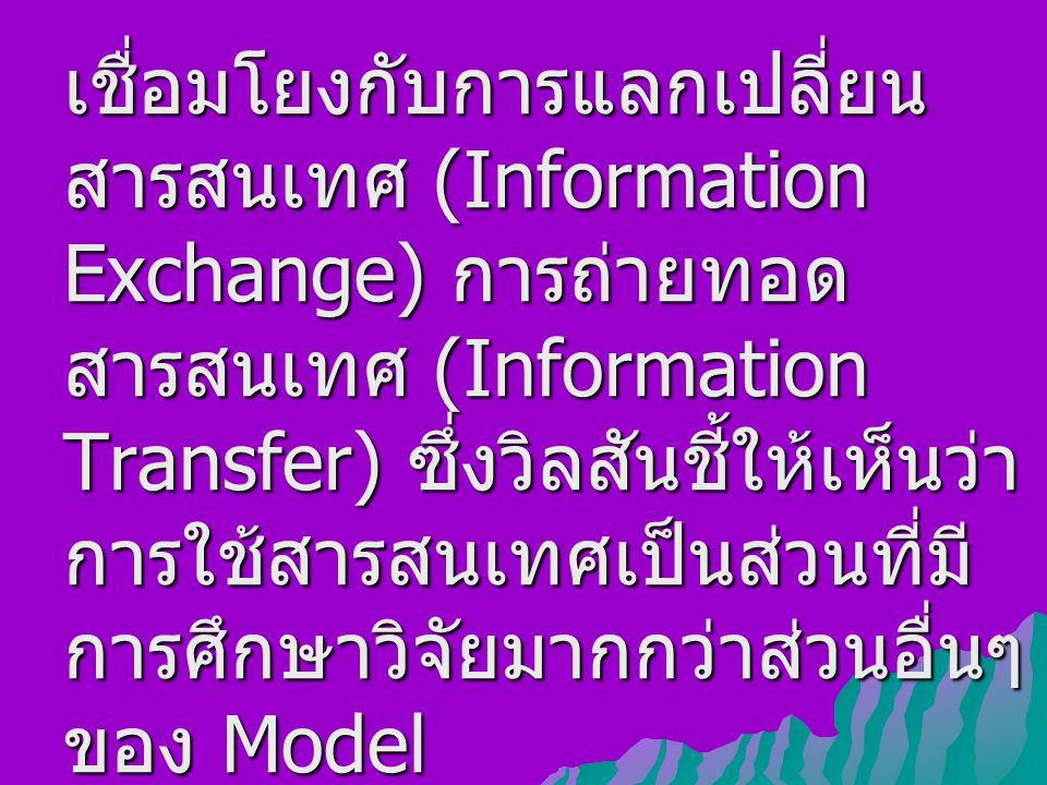 เชื่อมโยงกับการแลกเปลี่ยน สารสนเทศ (Information Exchange) การถ่ายทอด สารสนเทศ (Information Transfer) ซึ่งวิลสันชี้ให้เห็นว่า การใช้สารสนเทศเป็นส่วนที่มี การศึกษาวิจัยมากกว่าส่วนอื่นๆ ของ Model