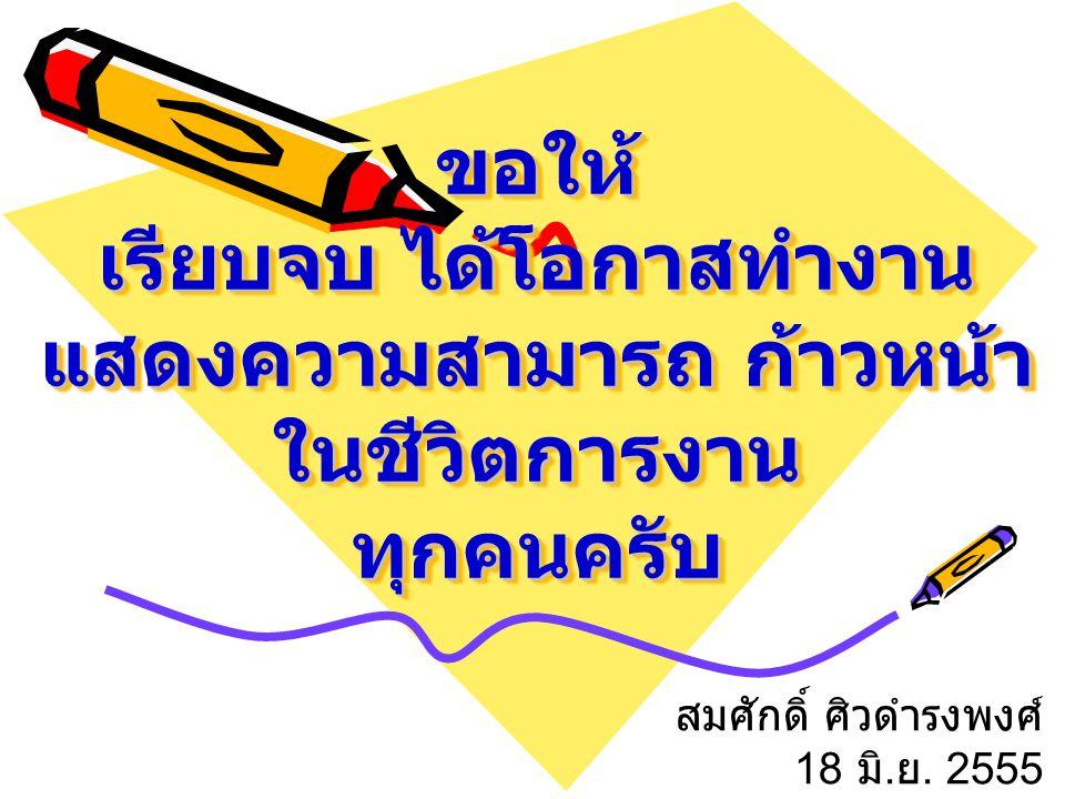 ขอให้ เรียบจบ ได้โอกาสทำงาน แสดงความสามารถ ก้าวหน้า ในชีวิตการงาน ทุกคนครับ สมศักดิ์ ศิวดำรงพงศ์ 18 มิ. ย. 2555