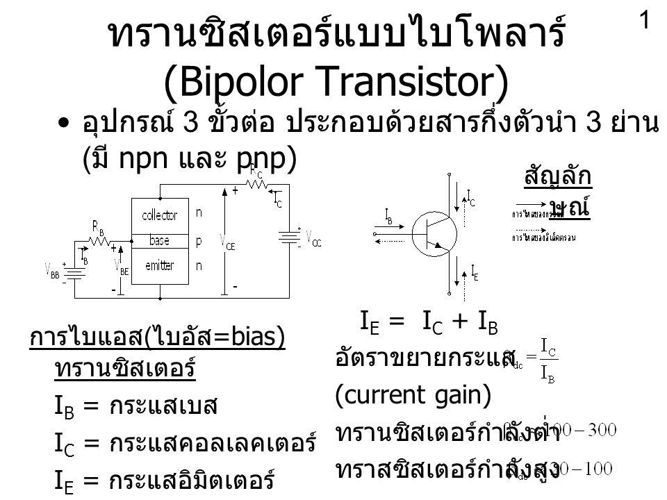 อุปกรณ์ 3 ขั้วต่อ ประกอบด้วยสารกึ่งตัวนำ 3 ย่าน ( มี npn และ pnp) ทรานซิสเตอร์แบบไบโพลาร์ (Bipolor Transistor) การไบแอส ( ไบอัส =bias) ทรานซิสเตอร์ I