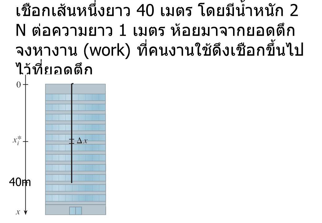 เชือกเส้นหนึ่งยาว 40 เมตร โดยมีน้ำหนัก 2 N ต่อความยาว 1 เมตร ห้อยมาจากยอดตึก จงหางาน (work) ที่คนงานใช้ดึงเชือกขึ้นไป ไว้ที่ยอดตึก 40m
