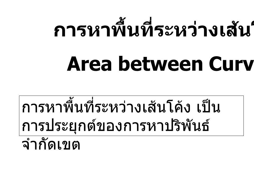 การหาพื้นที่ระหว่างเส้นโค้ง Area between Curves การหาพื้นที่ระหว่างเส้นโค้ง เป็น การประยุกต์ของการหาปริพันธ์ จำกัดเขต
