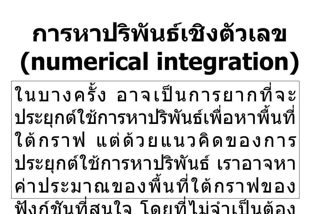 การหาปริพันธ์เชิงตัวเลข (numerical integration) ในบางครั้ง อาจเป็นการยากที่จะ ประยุกต์ใช้การหาปริพันธ์เพื่อหาพื้นที่ ใต้กราฟ แต่ด้วยแนวคิดของการ ประยุ