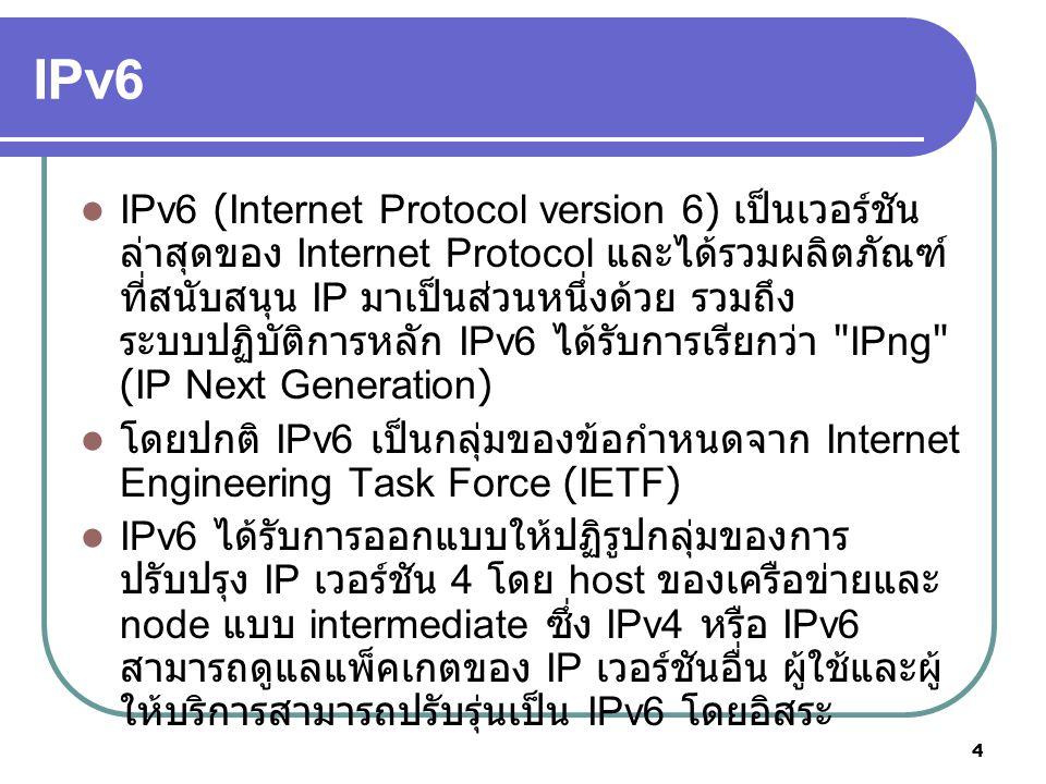 5 IPv6 การปรับปรุงที่ชัดเจนของ IPv6 คือความยาว ของ IP address เปลี่ยนจาก 32 เป็น 128 การ ขยายดังกล่าวเพื่อรองรับการขยายของ อินเตอร์เน็ต และเพื่อหลีกเลี่ยงการขาดแคลน ของตำแหน่งเครือข่าย IP v6 ได้กำหนดกฎในการระบุตำแหน่งเป็น 3 ประเภทคือ 1.unicast (host เดี่ยวไปยัง host เดี่ยวอื่น ๆ ) 2.anycast (host เดี่ยวไปยัง host หลายตัวที่ใกล้ ที่สุด ) 3.multicast (host เดี่ยวไปยัง host หลายตัว )