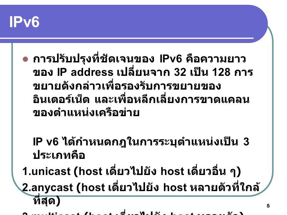 26 ในส่วนของประเทศไทย ในปัจจุบันได้มีการก่อตั้งคณะทำงาน ระดับประเทศขึ้นภายใต้ชื่อ Thailand IPv6 Forum กิจกรรมในปัจจุบันของ Thailand IPv6 Forum ได้แก่ การเข้าร่วมเป็นสมาชิกของ Asia-Pacific IPv6 Task Force และการ เชื่อมต่อแบบ Native IPv6