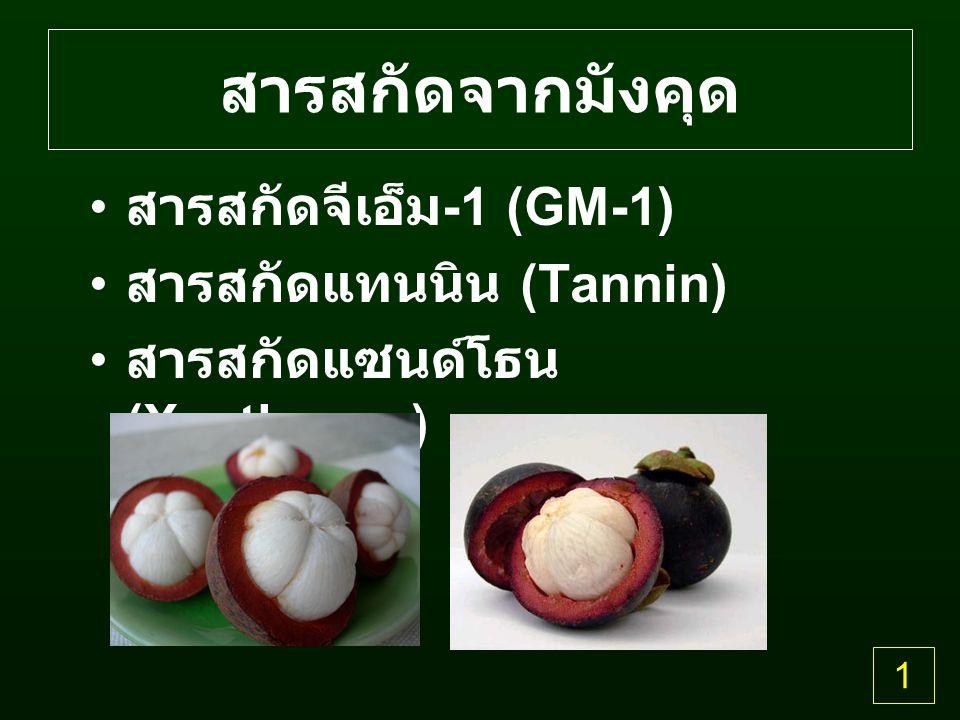 สารสกัดจากมังคุด สารสกัดจีเอ็ม -1 (GM-1) สารสกัดแทนนิน (Tannin) สารสกัดแซนด์โธน (Xanthones) 1