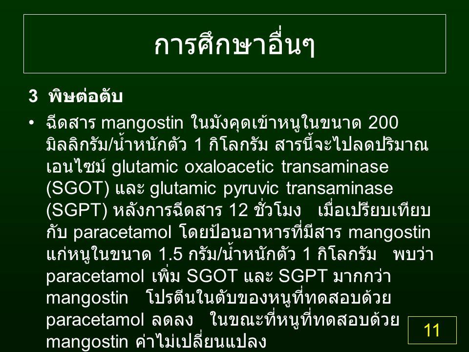 การศึกษาอื่นๆ 3 พิษต่อตับ ฉีดสาร mangostin ในมังคุดเข้าหนูในขนาด 200 มิลลิกรัม / น้ำหนักตัว 1 กิโลกรัม สารนี้จะไปลดปริมาณ เอนไซม์ glutamic oxaloacetic transaminase (SGOT) และ glutamic pyruvic transaminase (SGPT) หลังการฉีดสาร 12 ชั่วโมง เมื่อเปรียบเทียบ กับ paracetamol โดยป้อนอาหารที่มีสาร mangostin แก่หนูในขนาด 1.5 กรัม / น้ำหนักตัว 1 กิโลกรัม พบว่า paracetamol เพิ่ม SGOT และ SGPT มากกว่า mangostin โปรตีนในตับของหนูที่ทดสอบด้วย paracetamol ลดลง ในขณะที่หนูที่ทดสอบด้วย mangostin ค่าไม่เปลี่ยนแปลง 11