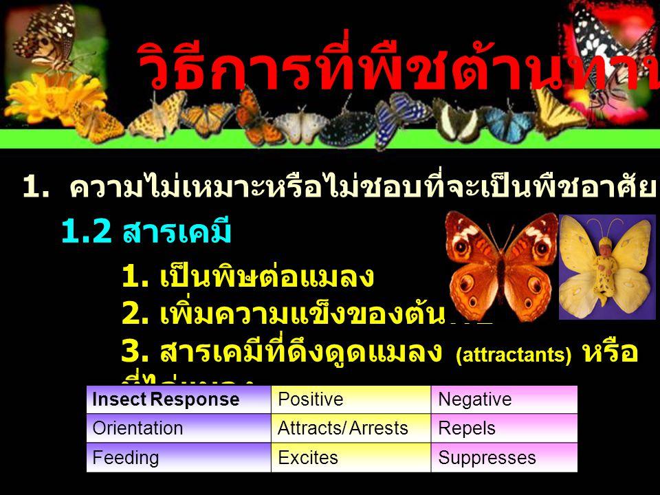 1.2 สารเคมี 1.เป็นพิษต่อแมลง 2. เพิ่มความแข็งของต้นพืช 3.