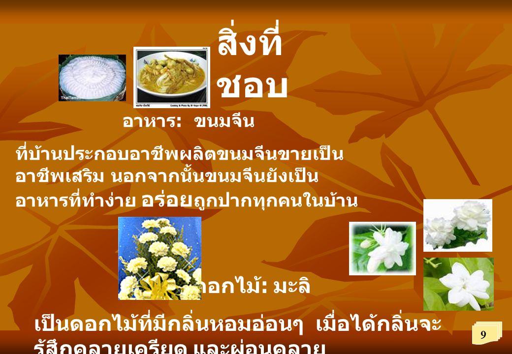สิ่งที่ ชอบ อาหาร : ขนมจีน ที่บ้านประกอบอาชีพผลิตขนมจีนขายเป็น อาชีพเสริม นอกจากนั้นขนมจีนยังเป็น อาหารที่ทำง่าย อร่อย ถูกปากทุกคนในบ้าน ดอกไม้ : มะลิ