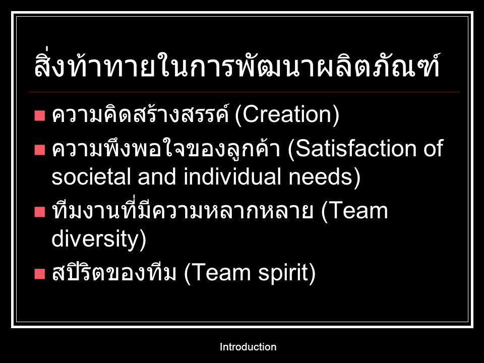 Introduction สิ่งท้าทายในการพัฒนาผลิตภัณฑ์ ความคิดสร้างสรรค์ (Creation) ความพึงพอใจของลูกค้า (Satisfaction of societal and individual needs) ทีมงานที่
