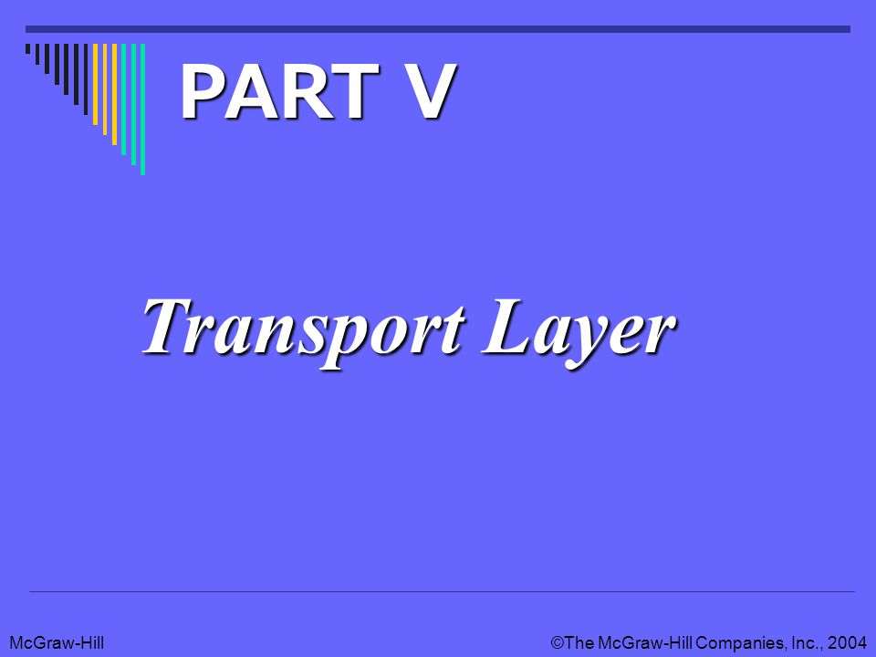 McGraw-Hill©The McGraw-Hill Companies, Inc., 2004 Transport layer duties Application layer Transport layer Network layer Datalink layer Physical layer