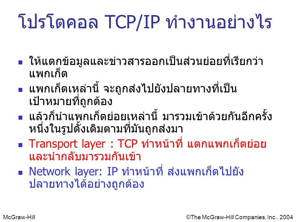 McGraw-Hill©The McGraw-Hill Companies, Inc., 2004 โปรโตคอล TCP/IP ทำงานอย่างไร ให้แตกข้อมูลและข่าวสารออกเป็นส่วนย่อยที่เรียกว่า แพกเก็ต แพกเก็ตเหล่านี้ จะถูกส่งไปยังปลายทางที่เป็น เป้าหมายที่ถูกต้อง แล้วก็นำแพกเก็ตย่อยเหล่านี้ มารวมเข้าด้วยกันอีกครั้ง หนึ่งในรูปดั้งเดิมตามที่มันถูกส่งมา Transport layer : TCP ทำหน้าที่ แตกแพกเก็ตย่อย และนำกลับมารวมกันเข้า Network layer: IP ทำหน้าที่ ส่งแพกเก็ตไปยัง ปลายทางได้อย่างถูกต้อง