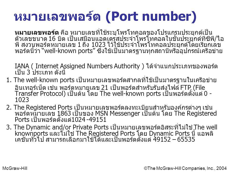 McGraw-Hill©The McGraw-Hill Companies, Inc., 2004 หมายเลขพอร์ต (Port number) หมายเลขพอร์ต คือ หมายเลขที่ใช้ระบุโพรโทคอลของโปรแกรมประยุกต์เป็น ตัวเลขขนาด 16 บิต เป็นเสมือนแอดเดรสประจำโพรโทคอลในชั้นประยุกต์ทีซีพี/ไอ พี สงวนพอร์ตหมายเลข 1 ถึง 1023 ไว้ใช้ประจำโพรโทคอลประยุกต์โดยเรียกเลข พอร์ตนี้ว่า well-known ports ซึ่งใช้เป็นมาตรฐานทุกสถานีหรืออุปกรณ์เครือข่าย IANA ( Internet Assigned Numbers Authority ) ได้จำแนกประเภทของพอร์ต เป็น 3 ประเภท ดังนี้ 1.